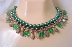 50s Vintage Japan Bib Bead Necklace (Green Glass, Green Crystal, Grey Glass) from Picsity.com