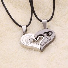 Unisex Lover Couple Necklace I Love You Heart Shape Pendant Necklaces Fashion Jewelry