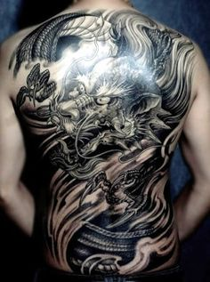 Chinese Dragon Tattoo in back
