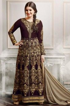 Brown and Grey Straight cut Indian Designer Party Wear Anarkali  #brown #pantstylesuit #straightcutanarkali #bridal #wedding #style #fashion #suits #stylish #ethnicwear #dress #model #fancy #indian_dresses #saree #lehengacholi #gulzar #bridalwear #anarkali #embroideredsuit #indian_collection #wedding_dress #party_anarkali #gown #dress_material #festivesuit #gebastore #pakistanibride #canada #london #uk #usa #punjabisuit #salwar_suit
