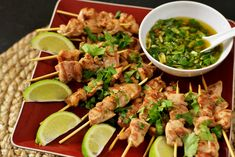 Thai-Chicken-Skewers-with-Sweet-Chili-Sauce Recipe - RecipeChart.com #Appetizer #Asian #Cuisine #Delicious