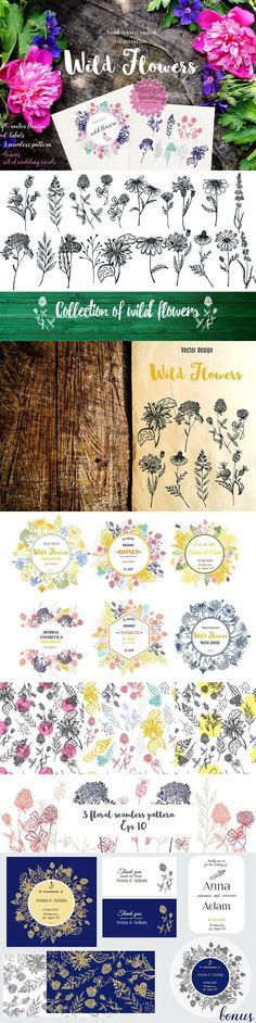 Big collection wild flowers!. Wedding Card Templates