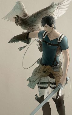Shingeki no Kyojin, Bertholdt Fubar, Blue Shirt, Owl, Jacket Around Waist