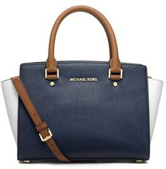 $298, Michl Michl Kors Medium Selma Tricolor Leather Satchel by MICHAEL Michael Kors. Sold by Nordstrom. Click for more info: http://lookastic.com/women/shop_items/40743/redirect