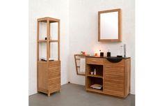 Miroir de salle de bain ARIKA en teck design prix promo Miliboo 179,00 € TTC au lieu de 199.00 €