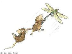 """""""Monica and Friend"""" from House-Mouse Designs® Holding on to a dragon fly and flying. House Mouse Stamps, Mouse Pictures, Mouse Color, Pet Mice, Cute Mouse, House Drawing, Illustrations, Cute Drawings, Coloring Pages"""