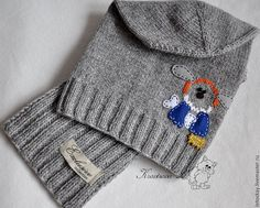 """Купить комплект для мальчика """"Забавный пес"""" - шапочка, шапочка для мальчика, шапочка вязаная, шапочка детская"""