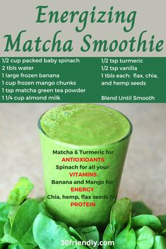 Matcha Green Tea Smoothie, Tea Smoothies, Matcha Drink, Energy Smoothies, Smoothie Drinks, Weight Loss Smoothies, Healthy Smoothies, Healthy Drinks, Energy Smoothie Recipes