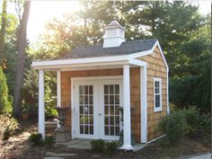Cedar Shake Garden Shed, Pillard Porch With French Doors And Copper Top  Copula.