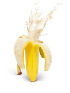 kitsch banana art photo wall poster Fruity Explosions by Design Cartel Banana Art, Banana Milk, Buda Wallpaper, Jugo Natural, Photoshop, Mellow Yellow, Creative Food, Food Design, Photo Manipulation
