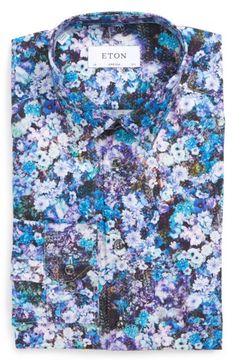Free shipping and returns on Eton Super Slim Fit Floral Print Dress Shirt at Nordstrom.com. Cut extra slim for a modern fit, a vibrant floral-print dress shirt is constructed from crease-resistant cotton and fitted with a measured spread collar and mitered, adjustable button cuffs.