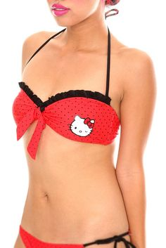 Cute hello kitty polka dot swim suit