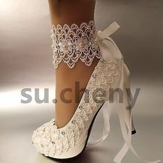 """3"""" 4 """" heel white ivory lace ribbon ankle pearls Wedding shoes bride size 5-11"""