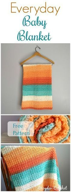 Free pattern by Croyden Crochet. Crochet this fast and easy Everyday Baby Blanket using Lion Brand Cupcake yarn. This blanket makes for a perfect baby shower gift!