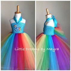 My Little Pony Rainbow dash inspired tutu dress - Rainbow dash costume inspired size nb to My Little Pony Party, My Little Pony Rainbow, My Lil Pony, My Little Pony Costume, Rainbow Dash Kostüm, Party Mottos, Rainbow Costumes, Rainbow Parties, Tutu Costumes