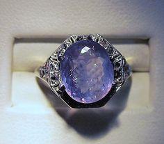18KT ANTIQUE 4.02CT NATURAL ALEXANDRITE .20CT ROSE CUT DIAMONDS RING... I want!!!