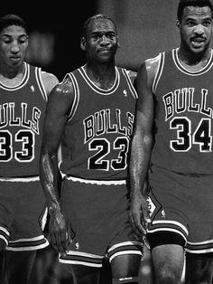 Scottie Pippen, Michael Jordan and Charles Oakley