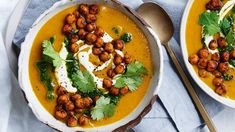 Ready in just under an hour, this creamy soup dish is bursting with the flavours of seasonal pumpkin and fresh herbs making it the perfect meal for lunch or dinner. Serve with crusty bread and it'll soon become your new favourite comfort food! Red Lentil Recipes, Soup Recipes, Healthy Recipes, Healthy Soup, Vegetarian Recipes, Chickpea Soup, Red Lentil Soup, Spiced Pumpkin Soup, Pumpkin Spice