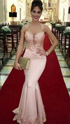 elegant queen anne pink mermaid pron dress with appliques , bodycon mermaid pearl pink party dress with appliques