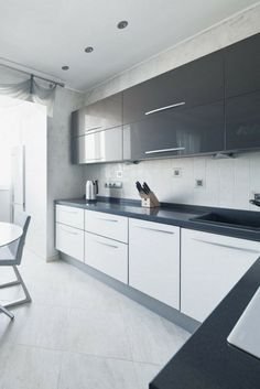 31 Best Of Modern White Gloss Kitchen Ideas . Grey and White Gloss Kitchen by Boconcept Designers Neutral Kitchen Designs, Kitchen Room Design, Kitchen Cabinet Design, Modern Kitchen Design, Kitchen Interior, Kitchen Ideas, Kitchen Inspiration, Kitchen Hacks, Diy Kitchen