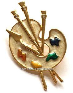 Artist Palette Gold Pin Brooch Graduation Gift Enamel Colors Paint Brush USA #Unbranded
