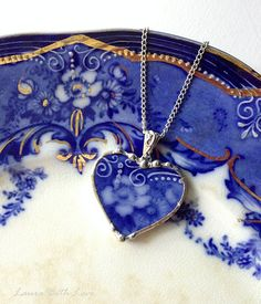 Beautiful antique Flow Blue rose broken china jewelry heart pendant necklace 1880s
