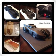 Stages of car build the Batmobile. Fondant, modelling chocolate, buttercream