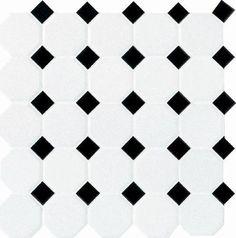 Mohawk® Glasen Stone Octagon 12 x 12 Ceramic Mosaic Tile at Menards®: Mohawk® Glasen Stone White with Black Dot Octagon 12 x 12 Ceramic Mosaic Tile Ceramic Mosaic Tile, Mosaic Wall Tiles, Bathroom Floor Tiles, Shower Floor, Glazed Ceramic, Porcelain Tile, Kitchen Floor, Bungalow Bathroom, Cottage Bathrooms