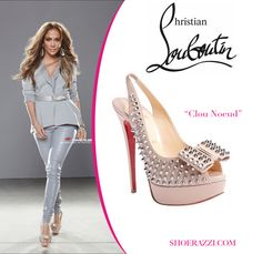 "Jennifer Lopez wearing ""Clou Noeud"" Christian Louboutin shoes."