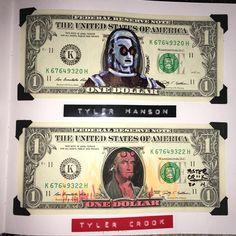 Dollar Bill Art from comic book artists