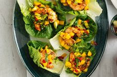 Barbecued prawn and mango lettuce cups main image