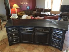 Concrete top on stained distressed then black laquered!