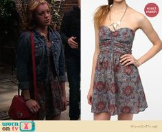 Keira's printed dress with denim jacket and red purse on Melissa and Joey.  Outfit details: http://wornontv.net/16733/