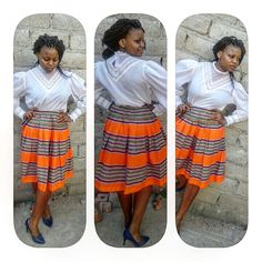 Vintage white shirt + custom made stipped skirt & blue stilletos. The mali twist is a bonus. Check out the details of the blouse✔