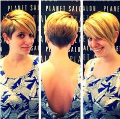 Asymmetric Blonde Pixie with Long Bangs - Layered Short Haircuts 2015
