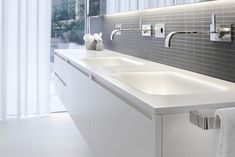 Accessories. Fancy White Double Sink Bathroom Vanity Cabinets. Affordable Double Vanities With Stylish Design With Floating White Modern Vanity And White Ceramic Under Mount Sink With Stainless Steel Faucet Plus Stainless Steel Towel Handle