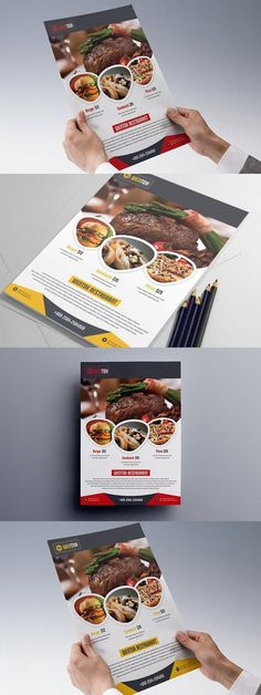 Restaurant Flyer template can be used for any business purpose or others sector. Restaurant Poster, Restaurant Menu Template, Restaurant Branding, Design Poster, Menu Design, Design Design, Brochure Food, Photography Brochure, Food Banner