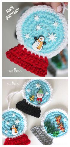 Snowglobe Ornaments Free Crochet Pattern + Video – DIY Magazine Source by angelikakneuper Crochet Ornament Patterns, Crochet Ornaments, Christmas Crochet Patterns, Holiday Crochet, Crochet Snowflakes, Doily Patterns, Crochet Diy, Crochet Motifs, Crochet Gifts
