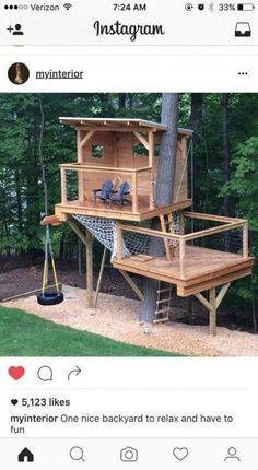 50 Ideas Backyard House Kids Play Spaces For 2019 Backyard Trees, Backyard House, Outdoor Trees, Backyard Garden Design, Backyard For Kids, Garden Fun, Garden Ideas, Tree House Playground, Backyard Playground