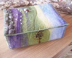 felt landscape on a box by @Aileen Clarke Crafts
