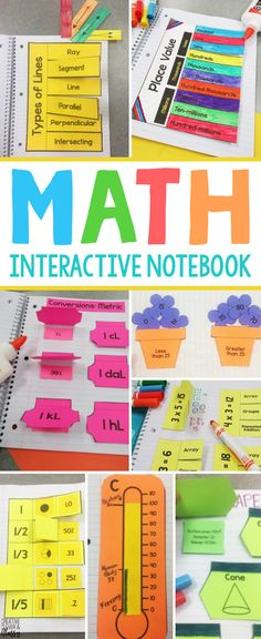 This Math Interactive Notebook is filled with over 30 pages of hands-on math activities for grades 4-8. Learn about fractions, multiplication, types of triangles, and more!