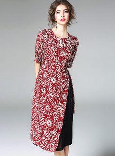 Casual Print O-neck Short Sleeve Sheath Skater Dress