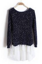 Navy Long Sleeve Contrast Chiffon Pullover Sweater $33.71 #SheInside