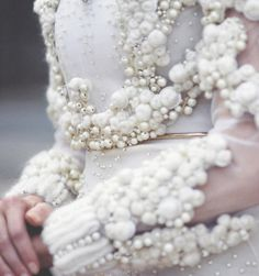 White on White Fashion - sheer sleeves & beautiful textures with wool & pearl beads - couture embellishments; exquisite fashion details by Givenchy Cute Embroidery, Beaded Embroidery, Couture Details, Fashion Details, Couture Fashion, Fashion Art, Fashion Design, Lux Fashion, Trendy Fashion