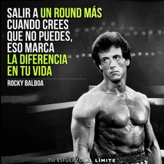 There are many phrases that I learned from this movie Rocky Balboa and this is one of them. As well as get up son of a bitch ! because Micky loves you . Motivational Phrases, Inspirational Quotes, Life Motivation, Fitness Motivation, Millionaire Quotes, Sylvester Stallone, Spanish Quotes, Gym Time, Just In Case