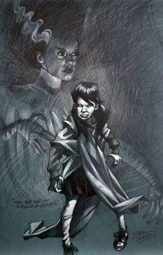 Craig Davison - Super Hero Kids - The Bride of Frankenstein Cool Monsters, Classic Monsters, Horror Art, Horror Movies, Superhero Kids, Celebrity Caricatures, Bride Of Frankenstein, Retro Art, Whimsical Art
