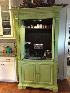 repurposed furniture armoire bar, coffee bar home, enter Bar Furniture, New Homes, Coffee Bar Home, Refurbished Furniture, Bars For Home, Armoire Bar, Furniture, Repurposed Furniture, Diy Furniture