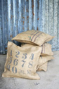 love rustic burlap coffee sack cushions / pillows for a vintage texture twist