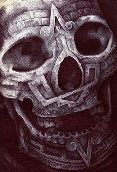 Aztec Skull by Spyder Ancient Mexico Tribal Tattoo Canvas Ar.- Aztec Skull by Spyder Ancient Mexico Tribal Tattoo Canvas Art Print Aztec Skull by Spyder Ancient Mexico Tribal Tattoo Canvas Art Print - Side Body Tattoos, Small Forearm Tattoos, Spine Tattoos, Star Tattoos, Skull Tattoos, Tribal Tattoos, Sleeve Tattoos, Hd Tattoos, Cross Tattoos