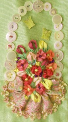 silk ribbon embroidery with ribbon worked flowers and leaves